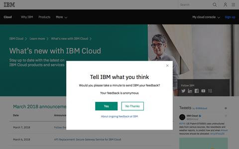 IBM Cloud - What's new
