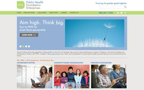 Screenshot of Home Page phfe.org - Public Health Foundation Enterprises - captured Oct. 1, 2014