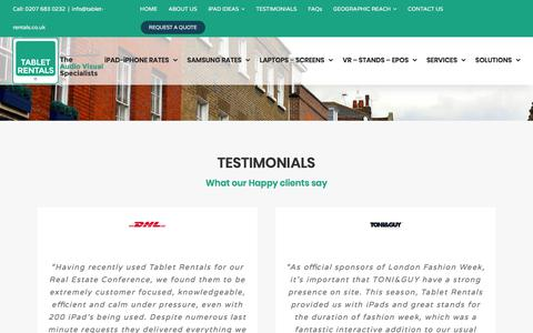 Screenshot of Testimonials Page tablet-rentals.co.uk - Testimonials - captured Sept. 21, 2018