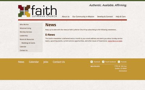 Screenshot of Press Page faithgolden.org - News   Faith Lutheran Church - captured Oct. 5, 2014