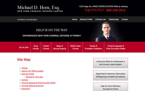 Screenshot of Site Map Page michaeldhorn.com - Site Map | Michael D. Horn, Esq., Attorney at Law | Queens, New York - captured Jan. 24, 2016