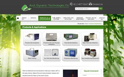Screenshot of Products Page austdynatech.com.au - Gas Detector Sensor, Gas Detection Sensor - captured Oct. 4, 2014