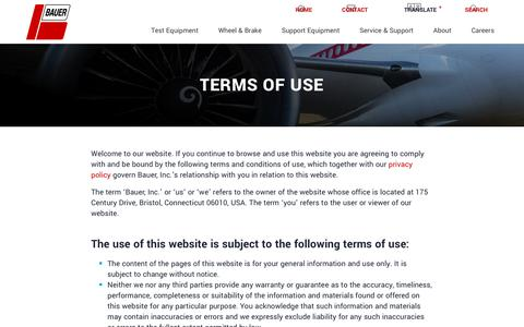 Screenshot of Terms Page bauerct.com - Terms of Use | Bauer, Inc. - captured Oct. 5, 2018