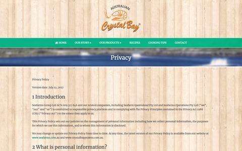 Screenshot of Privacy Page crystalbayprawns.com.au - Crystal Bay Prawns  Privacy - Crystal Bay Prawns - captured Oct. 2, 2018