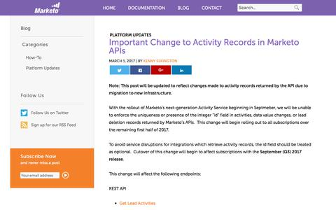 Screenshot of marketo.com - Important Change to Activity Records in Marketo APIs - Marketo Developers - captured June 8, 2017