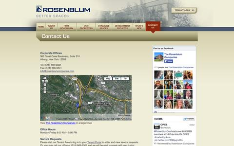 Screenshot of Contact Page rosenblumcompanies.com - Contact the Rosenblum Companies to lease office space in Albany, NY - captured Oct. 6, 2014