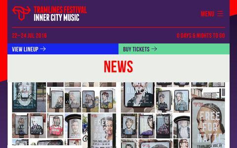 Screenshot of Press Page tramlines.org.uk - Tramlines Festival - News - captured Oct. 23, 2016
