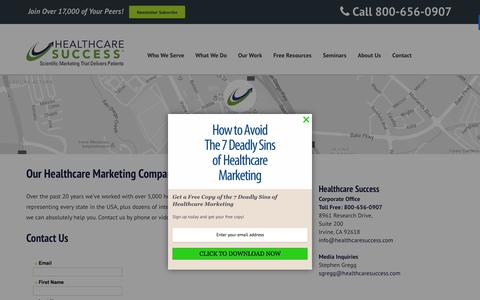 Screenshot of Contact Page healthcaresuccess.com - Contact Healthcare Success - A Marketing & Advertising Agency - captured Nov. 2, 2015