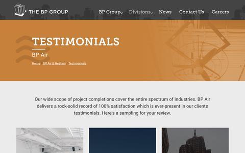 Screenshot of Testimonials Page bpgroup.com - BP Air Client Testimonials - captured Oct. 5, 2018