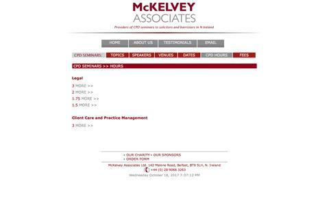 Screenshot of Hours Page mckelveyassociates.co.uk - Mckelvey Associates - Hours Overview for Legal CPD - captured Oct. 18, 2017