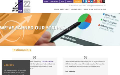 Screenshot of Testimonials Page aiminternet.co.uk - Testimonials | AIM Internet Digital Marketing - captured July 28, 2018
