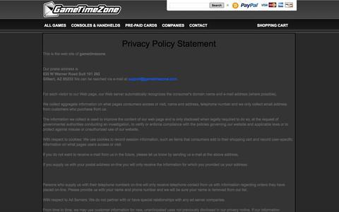 Screenshot of Privacy Page gametimezone.com - GameTimeZone.Com Privacy Policy - captured Sept. 23, 2014