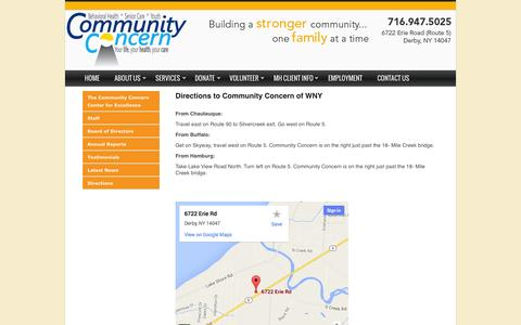 Screenshot of Maps & Directions Page communityconcern.org - Community Concern of WNY > About Us > Directions - captured Oct. 8, 2014
