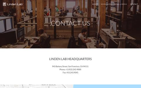 Screenshot of Contact Page lindenlab.com - Contact Us | Linden Lab - captured May 9, 2017