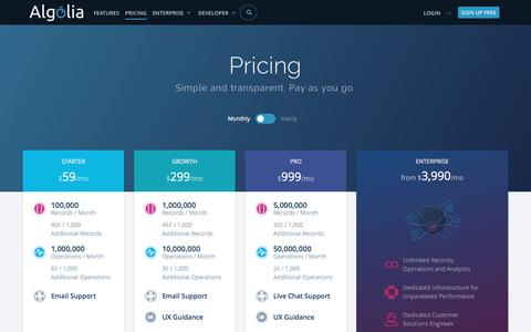 Screenshot of Pricing Page algolia.com - Search as a Service Pricing | Algolia - captured July 23, 2016
