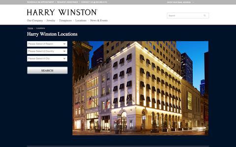Screenshot of Locations Page harrywinston.com - Locations | Harry Winston - captured Oct. 28, 2014