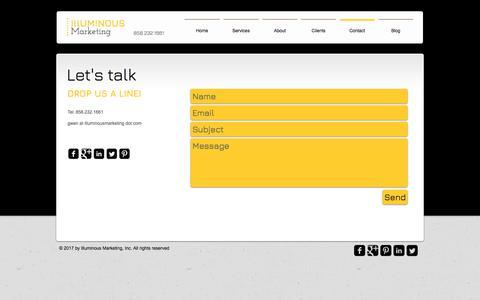 Screenshot of Contact Page illuminousmarketing.com - Contact | Illuminous Marketing - Shine Online - captured June 7, 2017