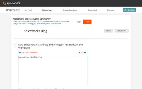 Screenshot of Blog spiceworks.com - Spiceworks Blog - Spiceworks - captured April 4, 2018