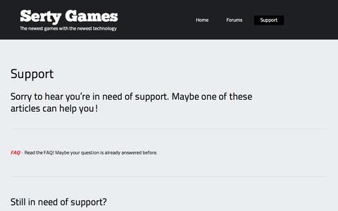 Screenshot of Support Page sertygames.com - Support | Serty Games - captured Sept. 30, 2014