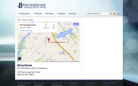 Screenshot of Maps & Directions Page intersense.com - InterSense | Precision Motion Tracking Solutions | Directions - captured Oct. 6, 2014