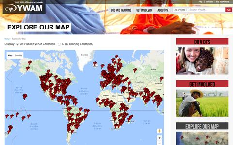 Screenshot of Maps & Directions Page ywam.org - Youth With A Mission   –  Explore Our Map - captured Sept. 7, 2016