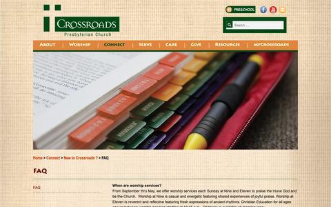 Screenshot of FAQ Page crossroadspres.org - FAQ - Crossroads - captured Sept. 30, 2018
