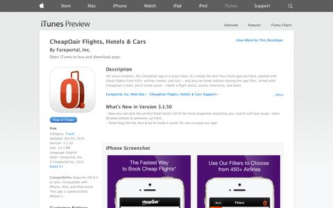 Screenshot of iOS App Page apple.com - CheapOair Flights, Hotels & Cars on the App Store on iTunes - captured Oct. 22, 2014