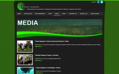 Screenshot of Press Page project-seagrass.co.uk - Project Seagrass | Advancing the conservation of seagrass through education influence research and action. - Media - captured Sept. 30, 2014