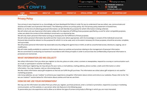 Screenshot of Privacy Page saltcrafts.com - Privacy Policy - captured Sept. 30, 2014