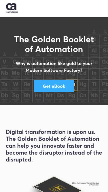 Screenshot of Landing Page  ca.com - The Golden Booklet of Automation - CA Technologies