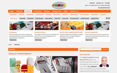 Screenshot of Services Page omnion.biz - Services | OMNiON PreMedia Pvt. Ltd., Bangalore, India - captured July 9, 2017