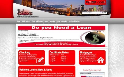 Screenshot of Home Page newhorizonscu.com captured Oct. 6, 2014