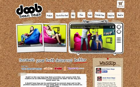 Screenshot of Home Page getdoob.com - doob® : Singapore's Leading Online Bean Bag Store, Free Delivery! - captured Oct. 6, 2014