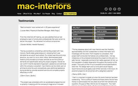 Screenshot of Testimonials Page mac-interiors.com - Testimonials - mac-interiors - captured Dec. 20, 2015