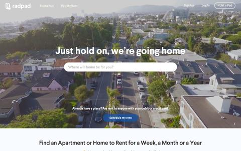 Screenshot of Home Page onradpad.com - RadPad: Find Apartments, Houses & Rooms for Rent - captured Feb. 8, 2016