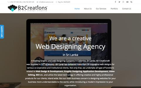 Screenshot of Home Page b2creations.net - Best Web Design Company, Web Designers in Sri Lanka - captured Sept. 1, 2015