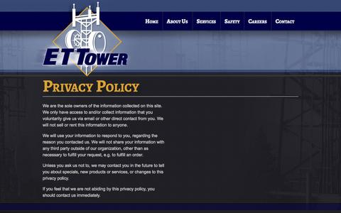 Screenshot of Privacy Page ettower.com - Privacy Policy | ET Tower - captured Oct. 1, 2014