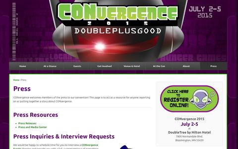 Screenshot of Press Page convergence-con.org - Press | CONvergence Convention - captured Sept. 19, 2014