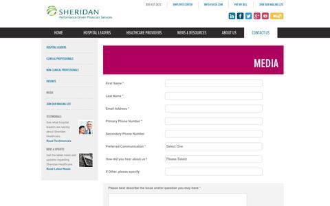 Screenshot of Press Page sheridanhealthcare.com - Media | Sheridan Healthcare - captured Oct. 6, 2014