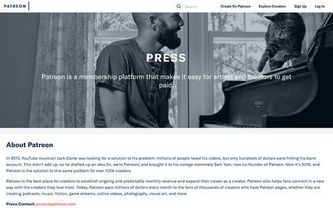 Screenshot of Press Page patreon.com - Press   Patreon - captured Oct. 5, 2018