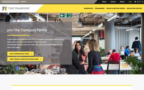 Screenshot of Signup Page thetrampery.com - Join - The Trampery - captured Nov. 19, 2018
