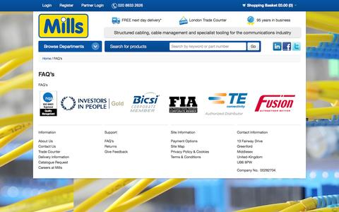 Screenshot of FAQ Page millsltd.com - Mills Ltd - London's Leading Supplier Of Structured Cabling & Specialist Tooling - FAQ's - captured Oct. 27, 2014