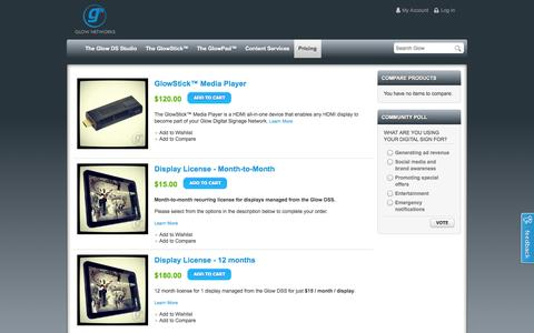 Screenshot of Pricing Page glownet.tv - gᴺ Pricing - captured Oct. 2, 2014