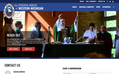 Screenshot of Contact Page edwm.org - Contact Us - Episcopal Diocese of Western Michigan - captured Nov. 10, 2018