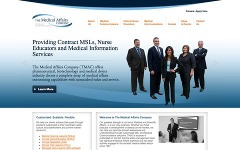 Screenshot of Home Page themedicalaffairscompany.com - Medical Science Liaisons MSL Consulting & Medical Communications - The Medical Affairs Company - captured Oct. 9, 2014