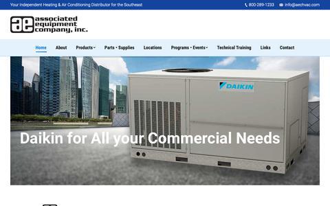 Screenshot of Home Page associatedequipmentinc.com - Amana, Daikin, Goodman HVAC Distributors - Associated Equipment Co. - captured Oct. 4, 2018