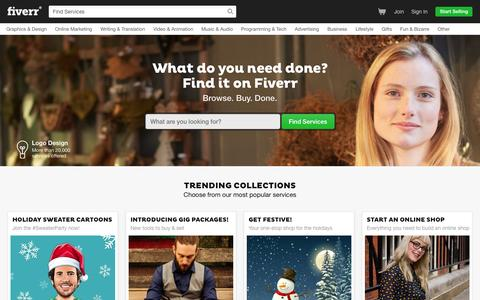 Screenshot of Home Page fiverr.com captured Nov. 17, 2015