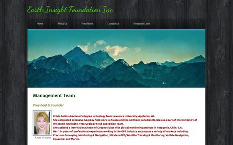 Screenshot of Team Page earthinsight.org - Our Team - Earth Insight Foundation Inc. - captured Oct. 1, 2014