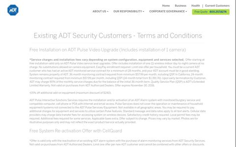 Existing ADT Customers Terms and Conditions