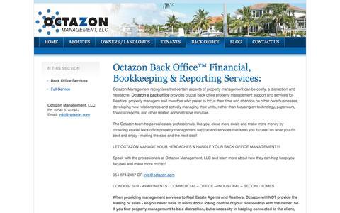 Screenshot of Services Page octazon.com - Back Office Services   Octazon Management, LLC - captured Nov. 28, 2016
